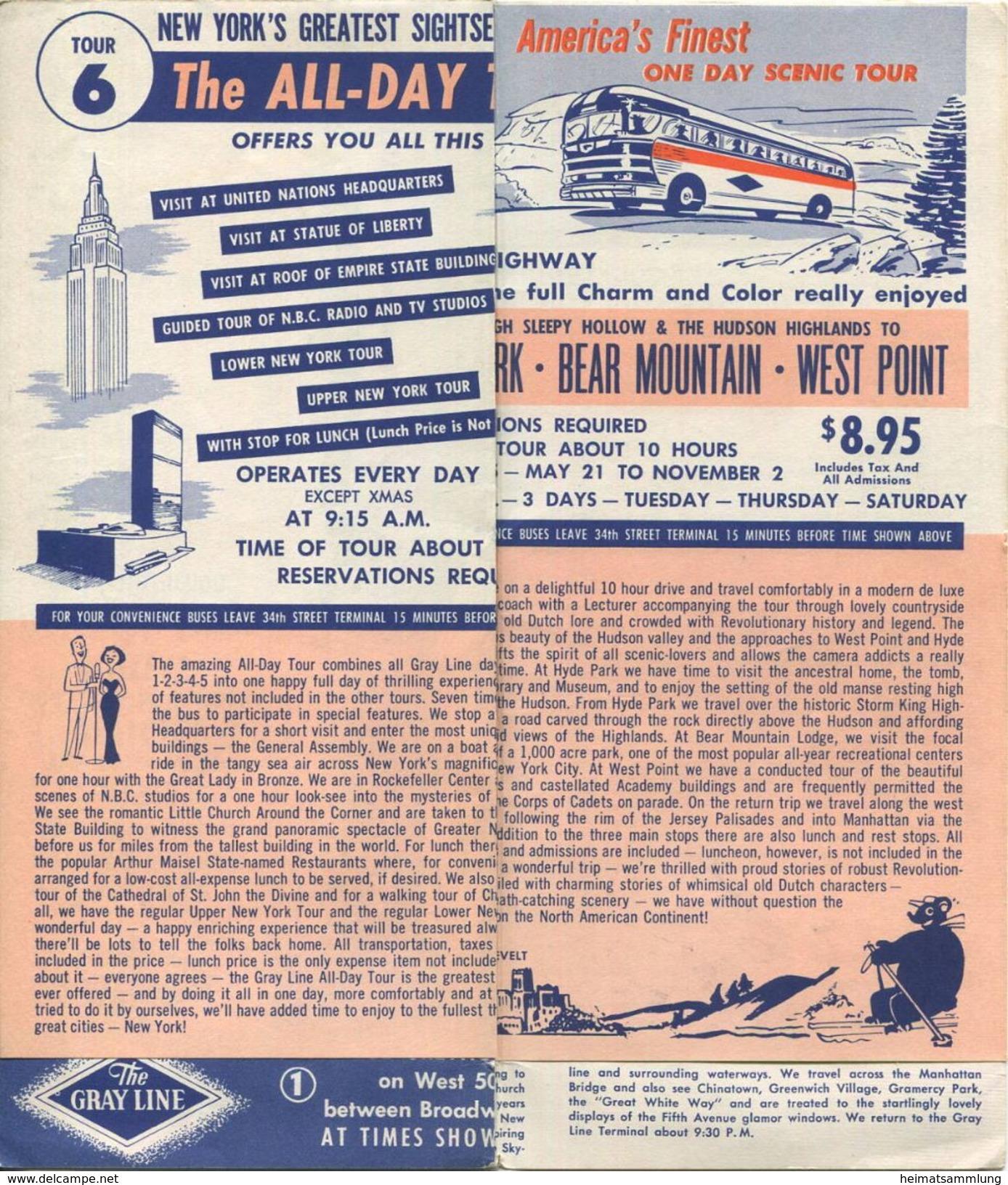 The Gray Line - Sightseeing New York - Faltblatt 1957 - Welt