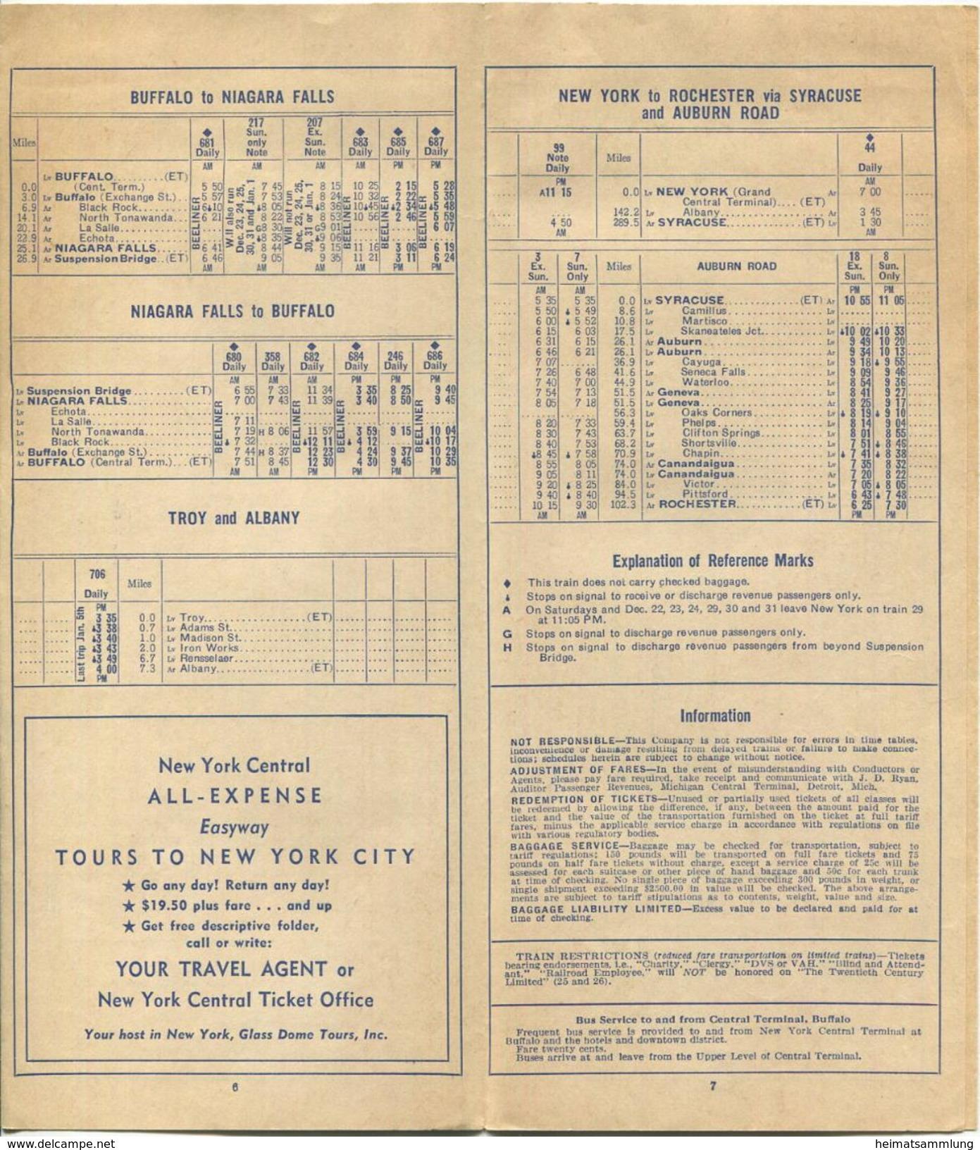 New York State - New York Central - Area Time Table - Faltblatt 1957 - World