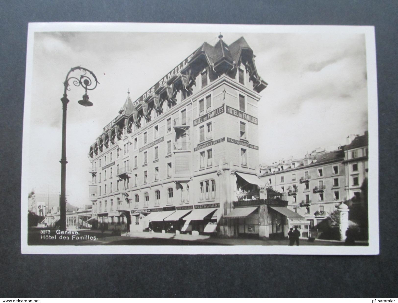 AK Echtfoto 1928 Geneve Hotel Des Familles. Flugpostmarke Nr. 213 MiF. Luftpost Zürich Flugplatz - Hotels & Gaststätten