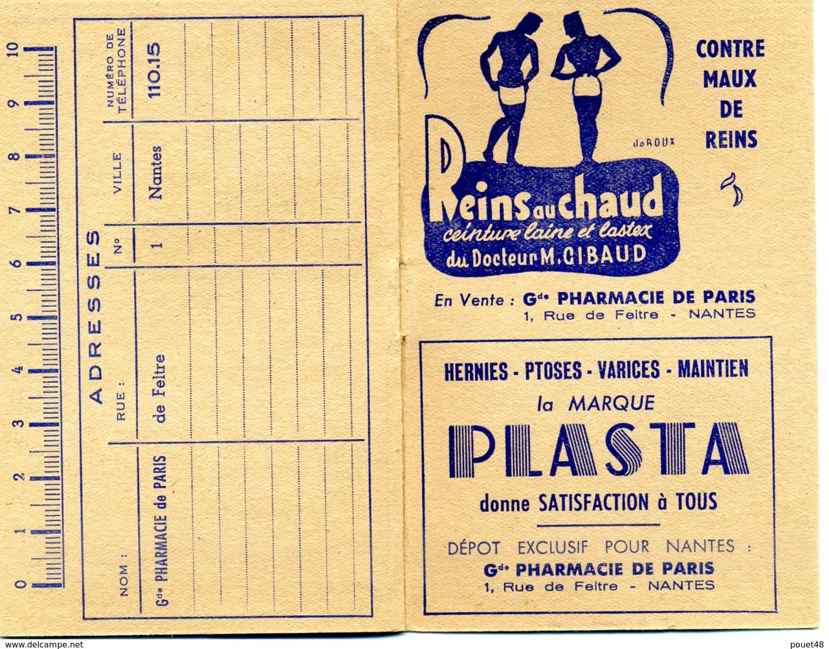 Calendrier Petit Format - 1951 - Pharmacie De PARIS à NANTES - PUB - Calendriers