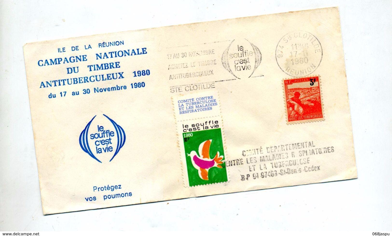 Lettre Flamme Saint Clotilde Reunion Timbre Antituberculeux Sur Aidez Surcharché + Vignette - Postmark Collection (Covers)