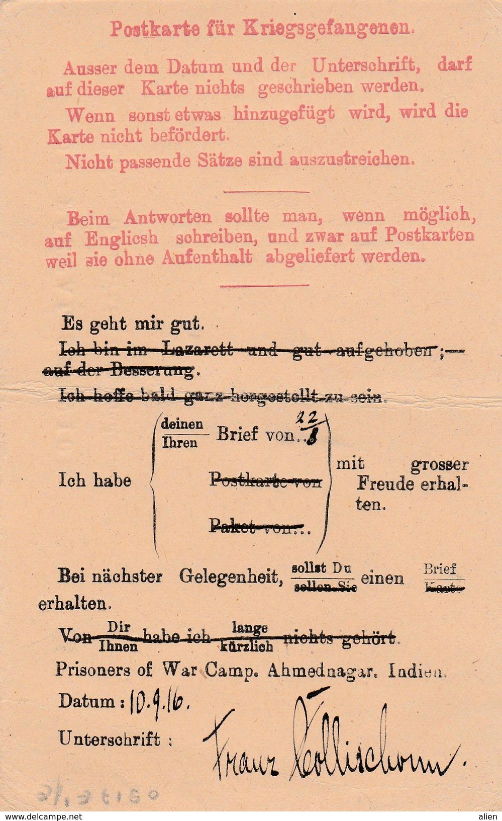 "German POW From Camp ""Ahmednagar Indien"" - ""Es Geht Mir Gut..."" To Frankfurt 1916, ""Passed Censor 14 Oct 1916"". - Besetzungen 1914-18"