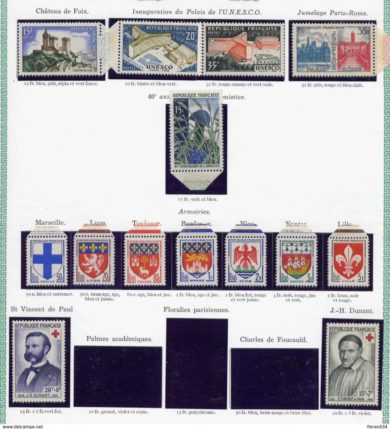 France Année 1958 Neuve ** Complète : N° 1142 à 1188 - Cote 62 Euros - Superbe Qualité - Frankrijk
