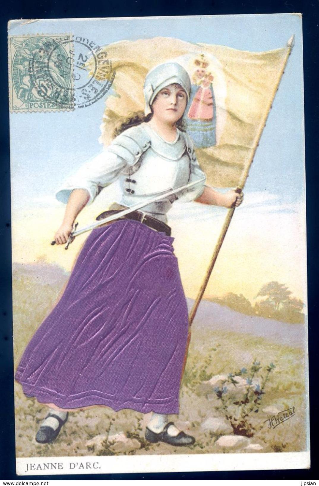 Cpa Jeanne D' Arc  Avec Tissus Signée Hans Hatzal   SEP17-50 - Brodées