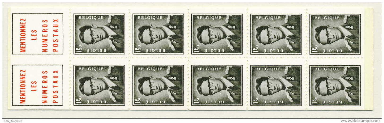 NB- B3, Carnet Type Marchand (lunettes) 1,50 F, Avec Texte Français, SNC - Booklets 1953-....