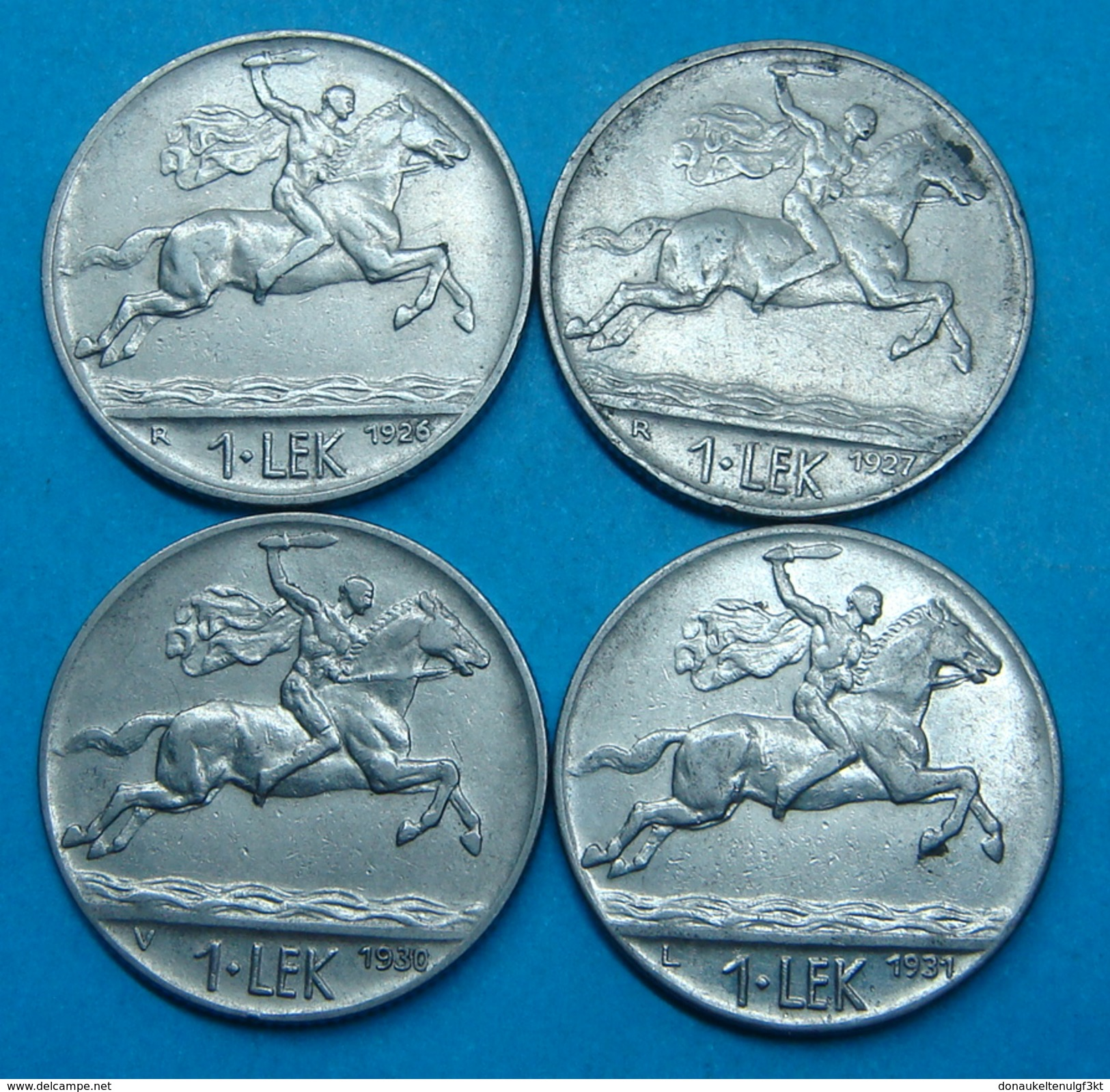 ALBANIA COMPLETE SET OF YEARS 1 LEK, 1927, 1927, 1930, 1931. VERY HARD TO FIND ALL YEARS,RARE - Albania
