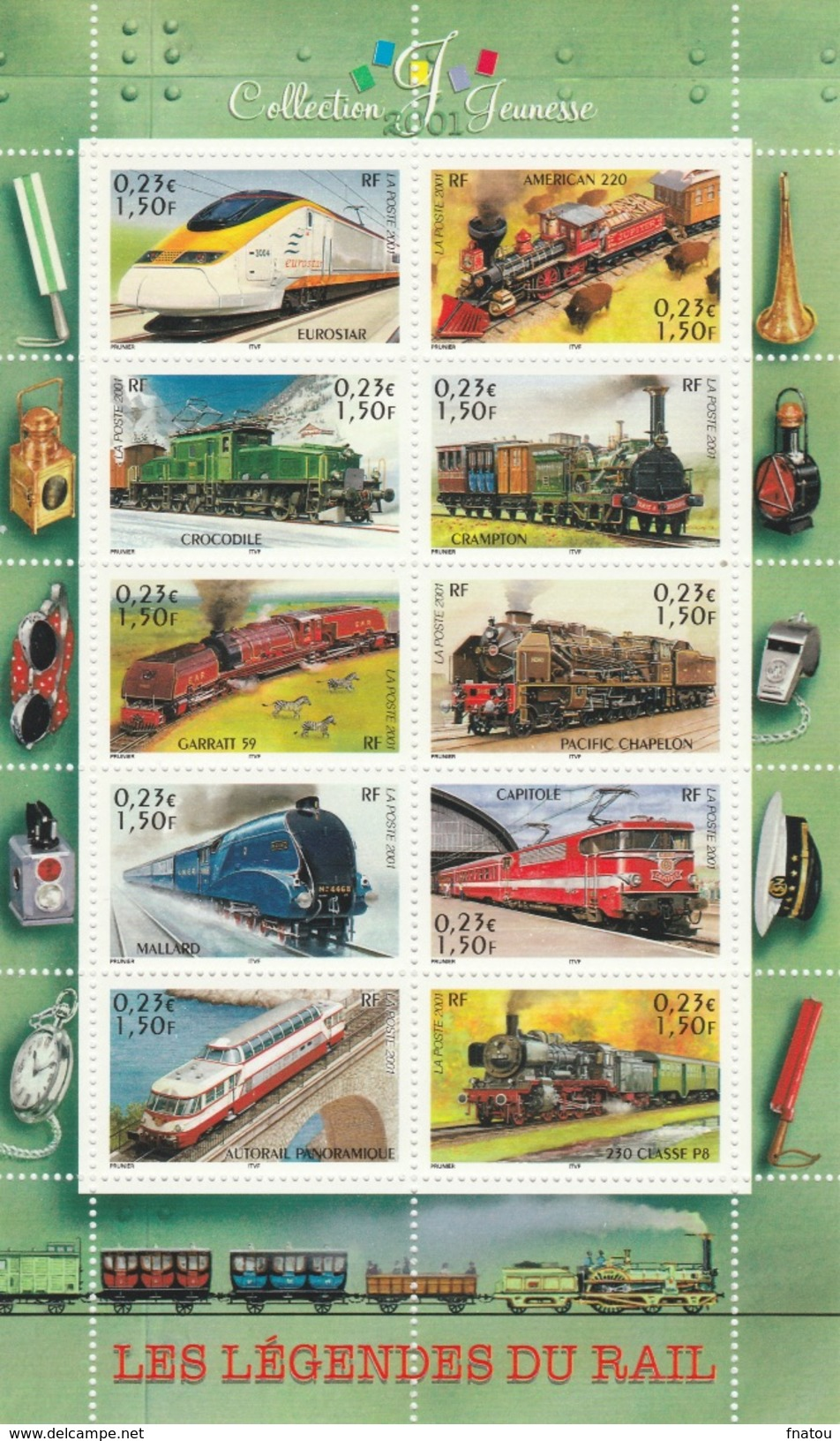 France, Famous Trains, Locomotives, 2001, MNH VF  Souvenir Sheet Of 10 - France
