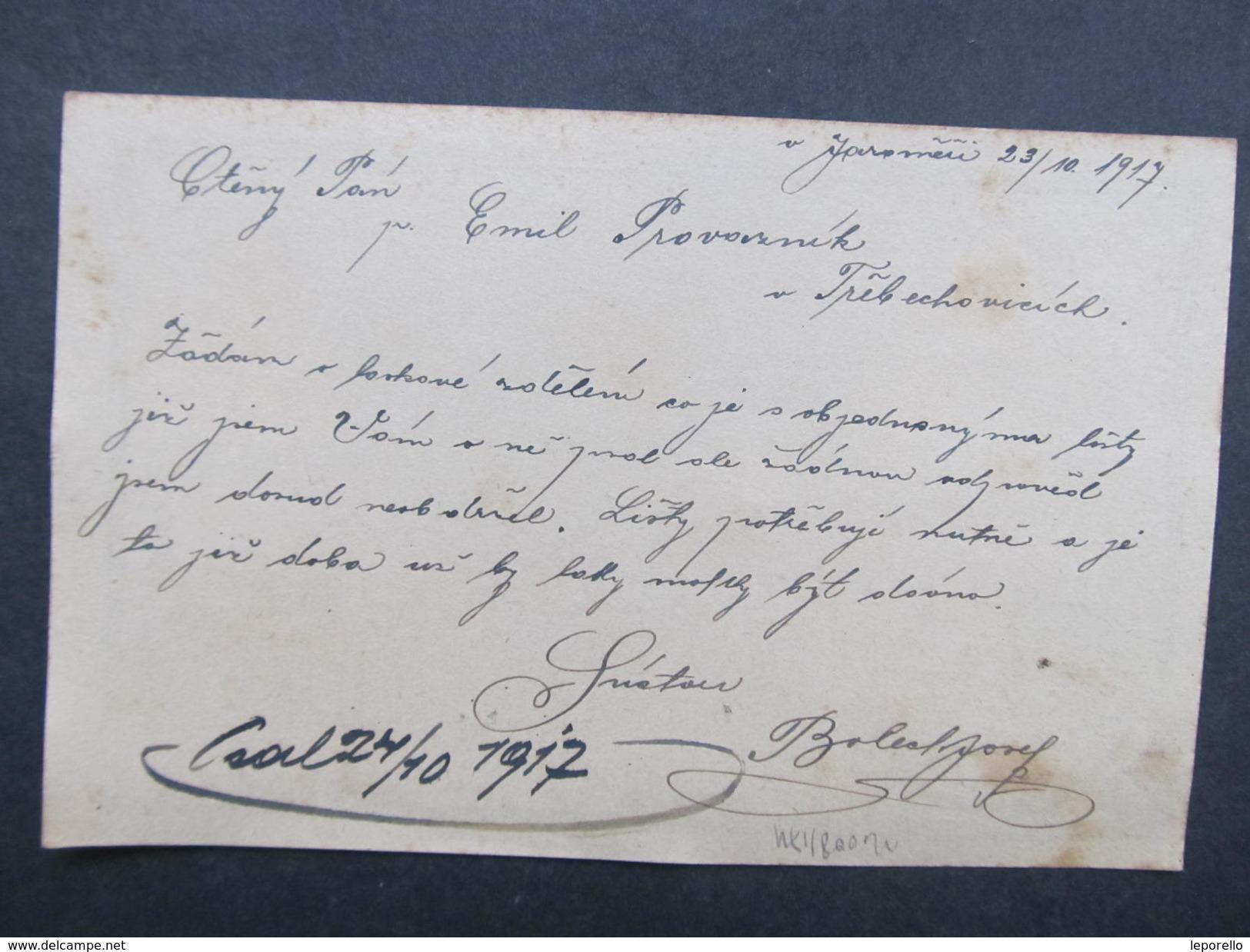 GANZSACHE Jaromer - Trebechovice Josef Bolech 1917 Korrespondenzkarte /// D*28147 - Briefe U. Dokumente