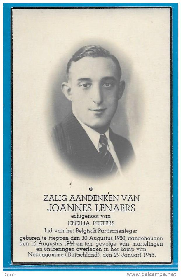 Bidprentje Van Oorlogslachtoffer - Joannes Lenaers - Heppen - Neuengamme (Duitsland) - 1920 - 1945 - Images Religieuses