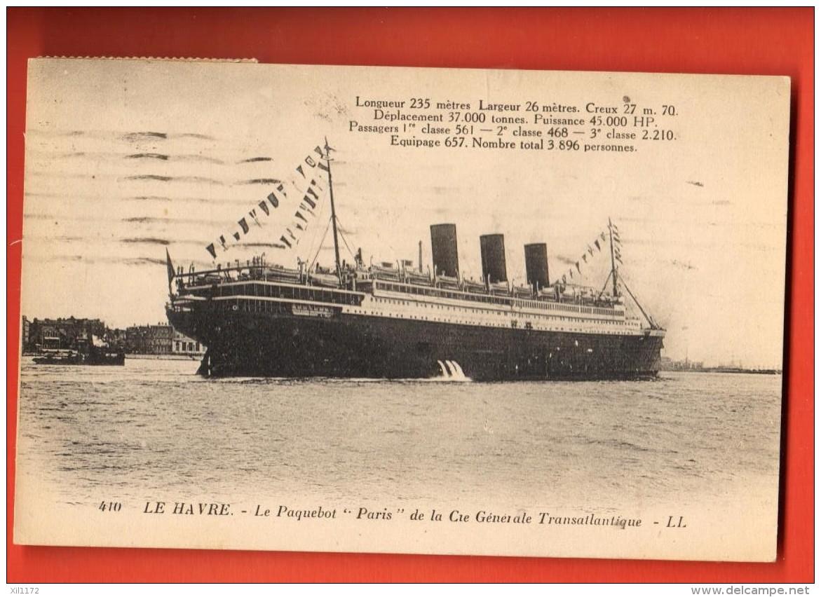 EVC-10  Le Havre, Paquebot Paris De La Cie Générale Transatlantique. Cachet 1923 - Paquebots