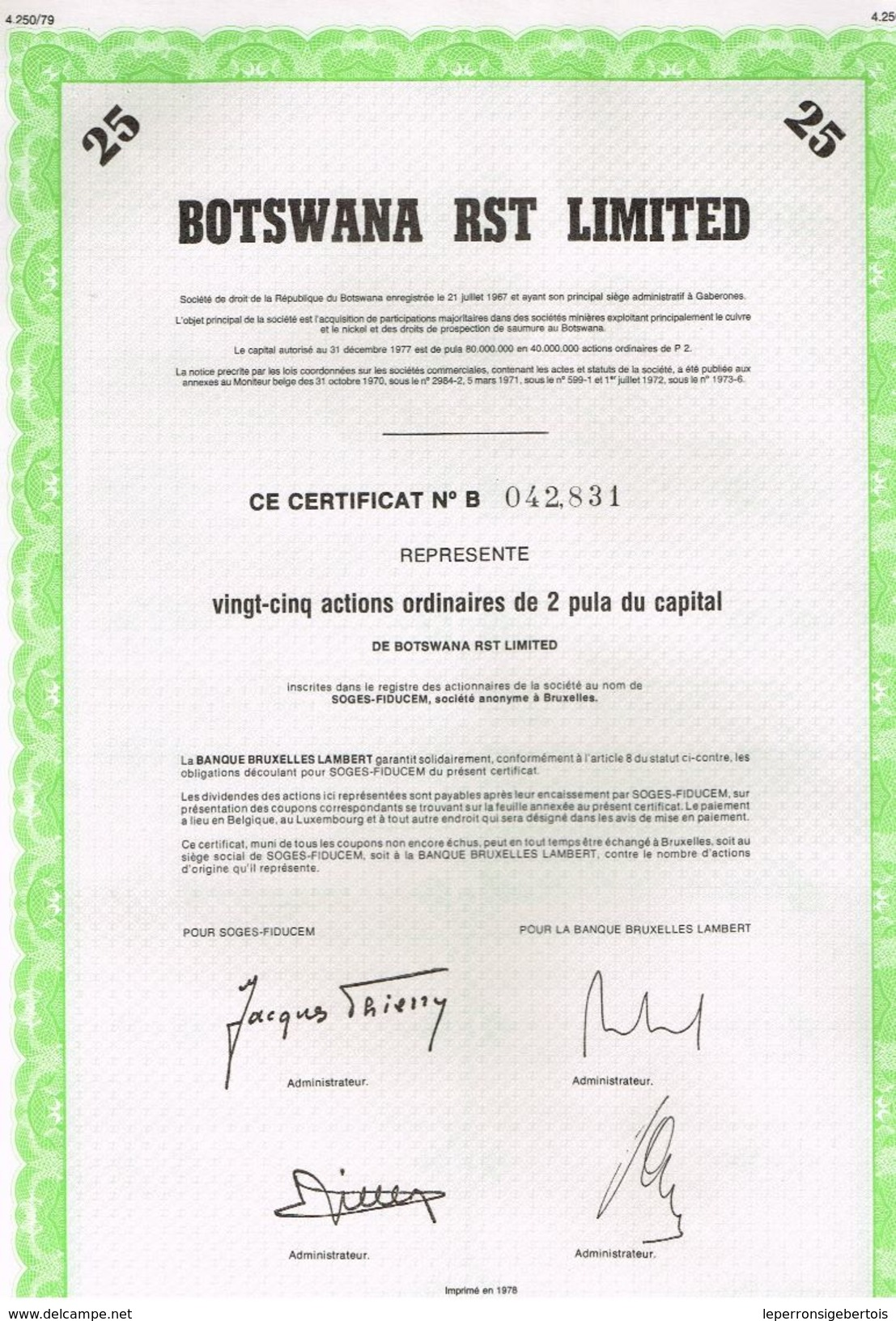 Action Ancienne - BOTSWANA  RST LIMITED - Titre De 1978 - Afrique