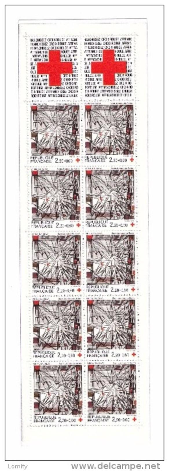 Bande Non Pliée Carnet Croix Rouge Lot Sous Faciale N°2035 De 1986 Avec 10 Timbre 2449a Prix Poste 4,26€ - Carnets