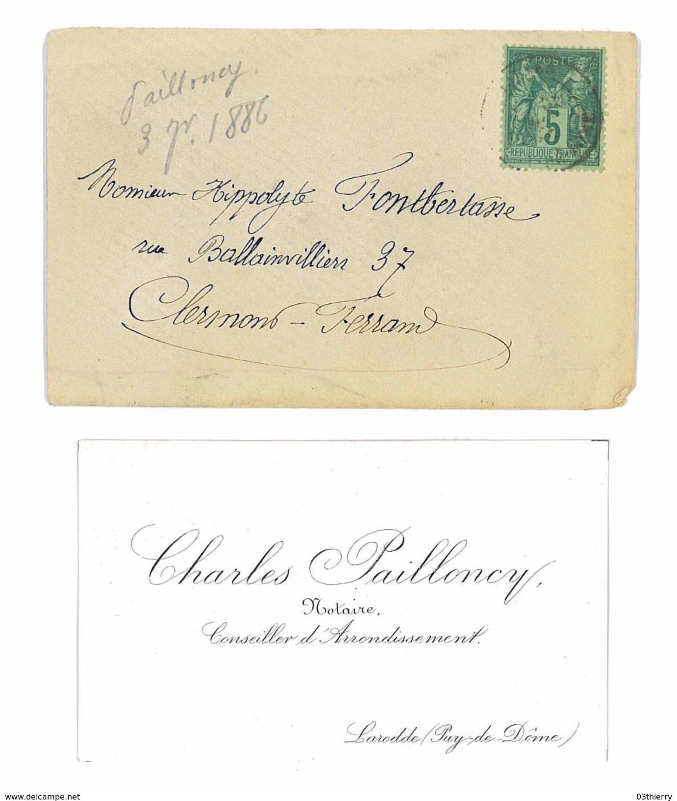 CARTE DE VISITE + ENV CHARLES PAILLONCY NOTAIRE A LARODDE 63 - Cartes De Visite