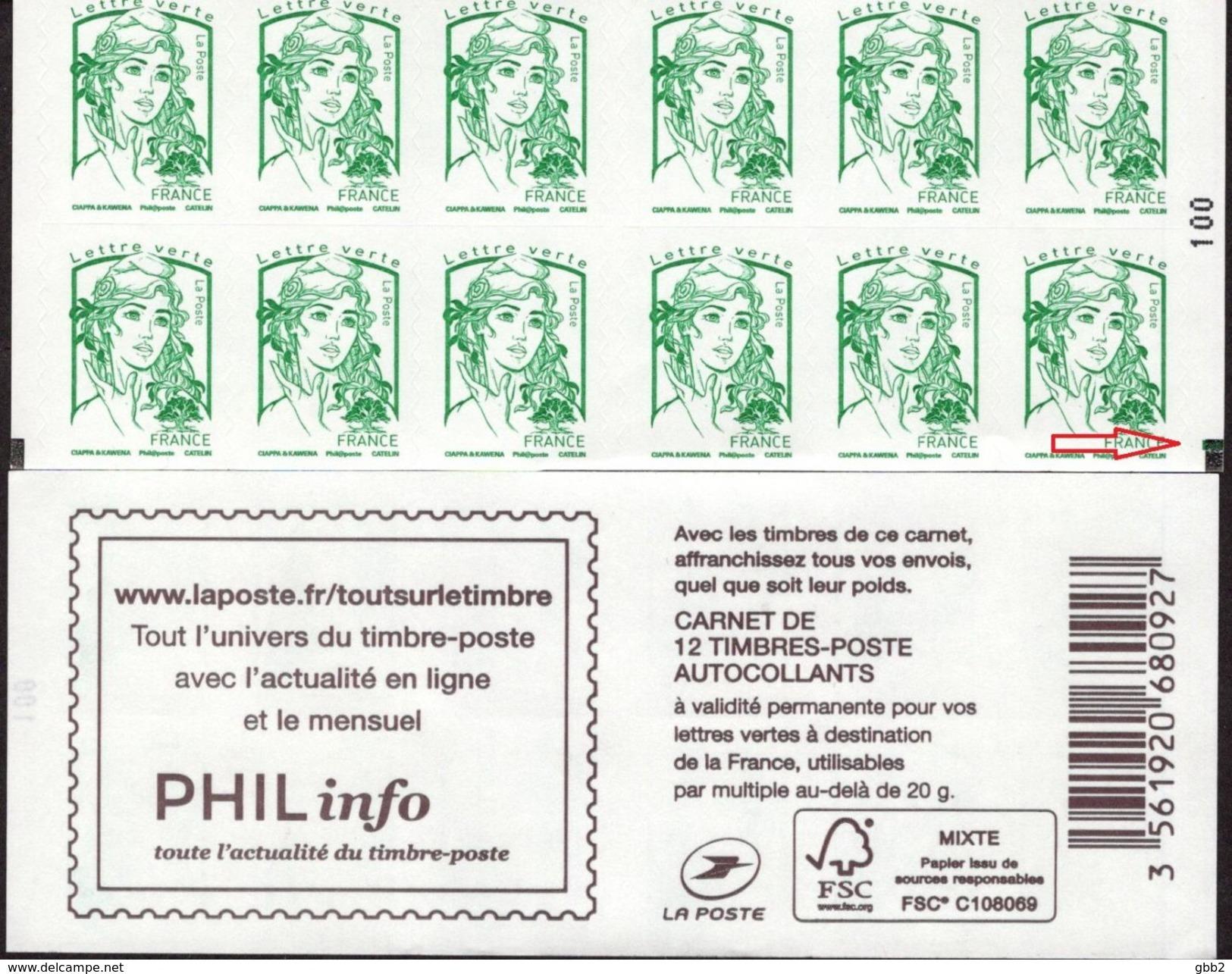 "CARNET 1215-C 7a Marianne De Ciappa-Kawena Vert ""PHIL Info"" ATTENTION Carnet SUPER-ARISTO Voir Scan TRES TRES TRES RARE - Usage Courant"