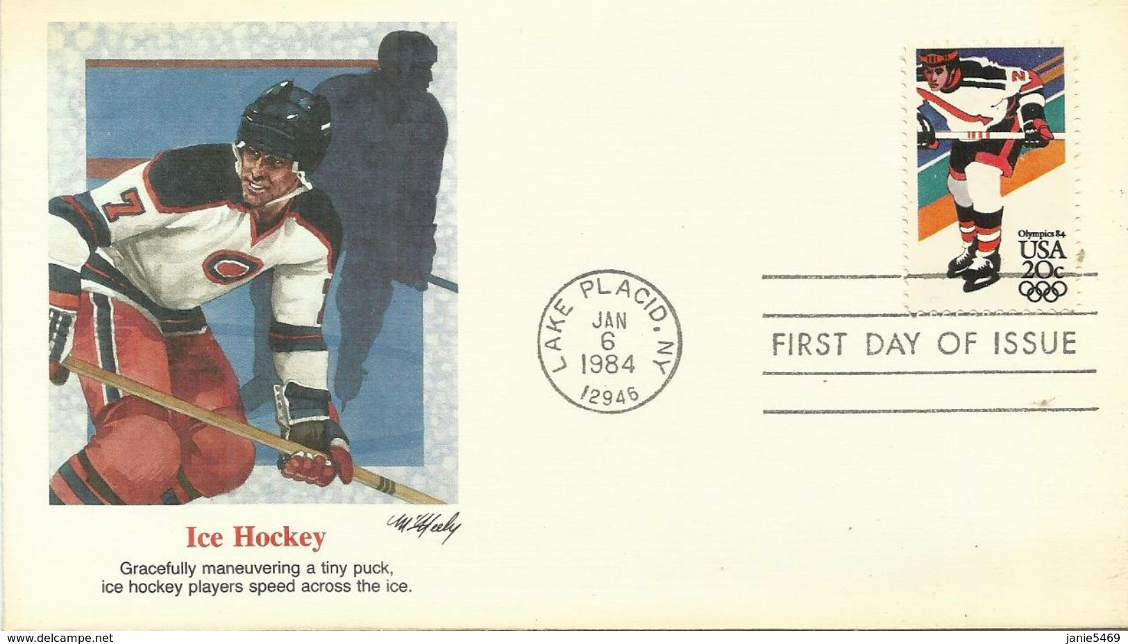 United States 1984 Sarajevo Winter Olympic Games, Ice Hockey, Souvenir Cover - Inverno1984: Sarajevo