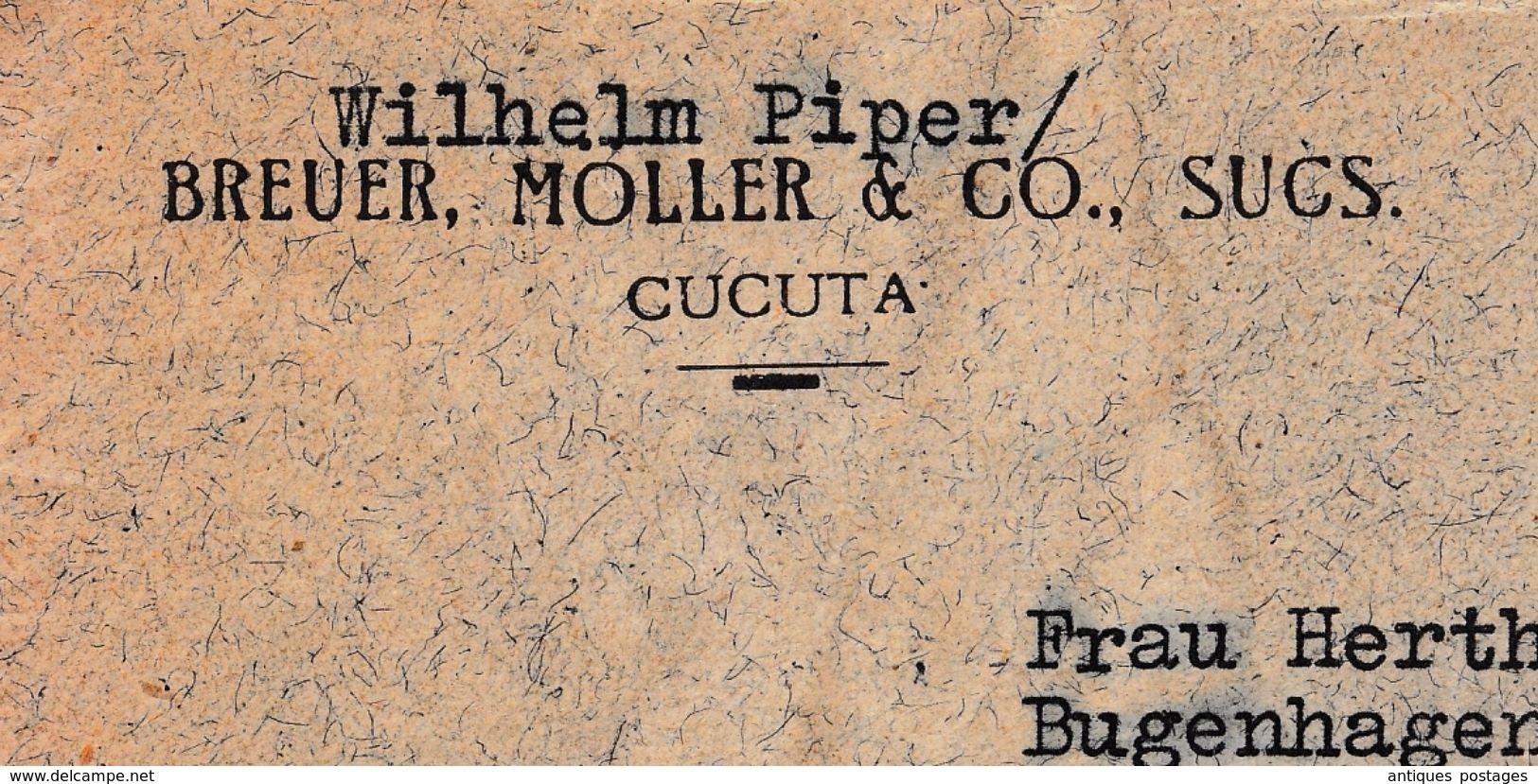 Lettre Cucuta Bogota Colombie Colombia 1937 Wilhelm Piper Breuer Moller & Co Lübeck Deutschland Café Coffee Cafe - Colombia
