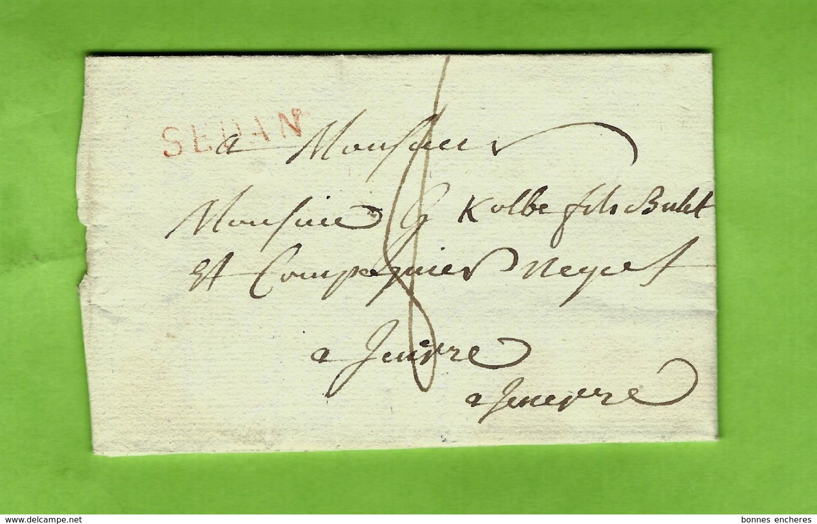1814 LAC De Raucourt Près SEDAN MARQUE POSTALE ENCRE ROUGE Pour Kolbe Négociants Lieu ?? VOIR SCANS - Marcofilia (sobres)