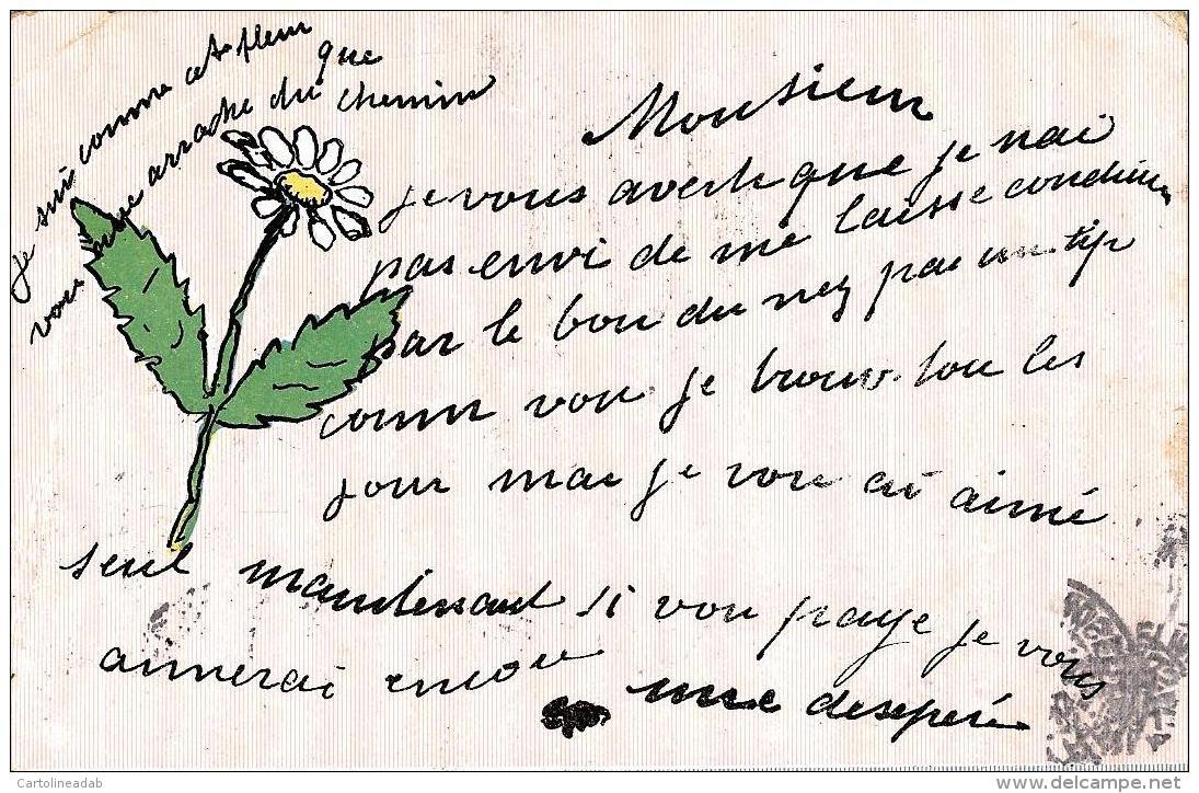 [DC11103] CPA - AUGURALE - FIORI - MARGHERITA - Viaggiata 1905 - Old Postcard - Fiori