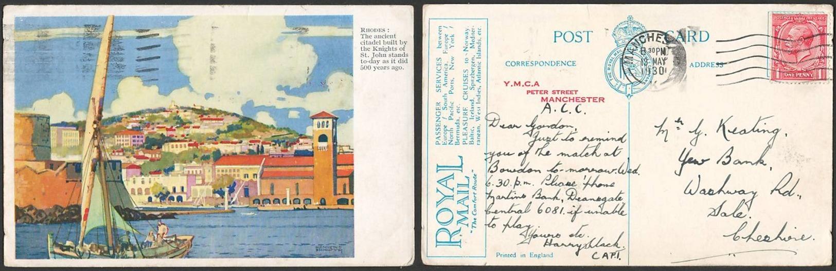 GB POSTCARD: 1930 ROYAL MAIL STEAM PACKET COMPANY - View Of RHODES, FU - Groot-Brittannië (oude Kolonies En Protectoraten)