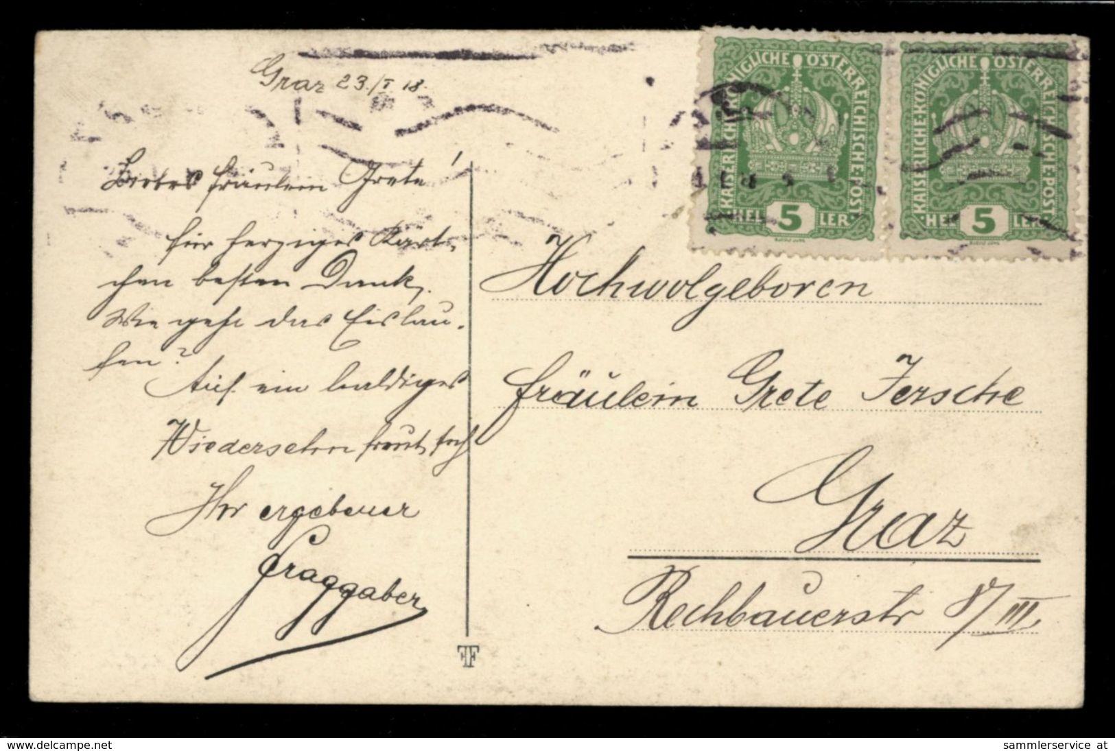 [015] Pferde-Karte 233, Pferde-Portait, Künstlerkarte, Gel. 1918 Von Wien Nach Graz - Pferde