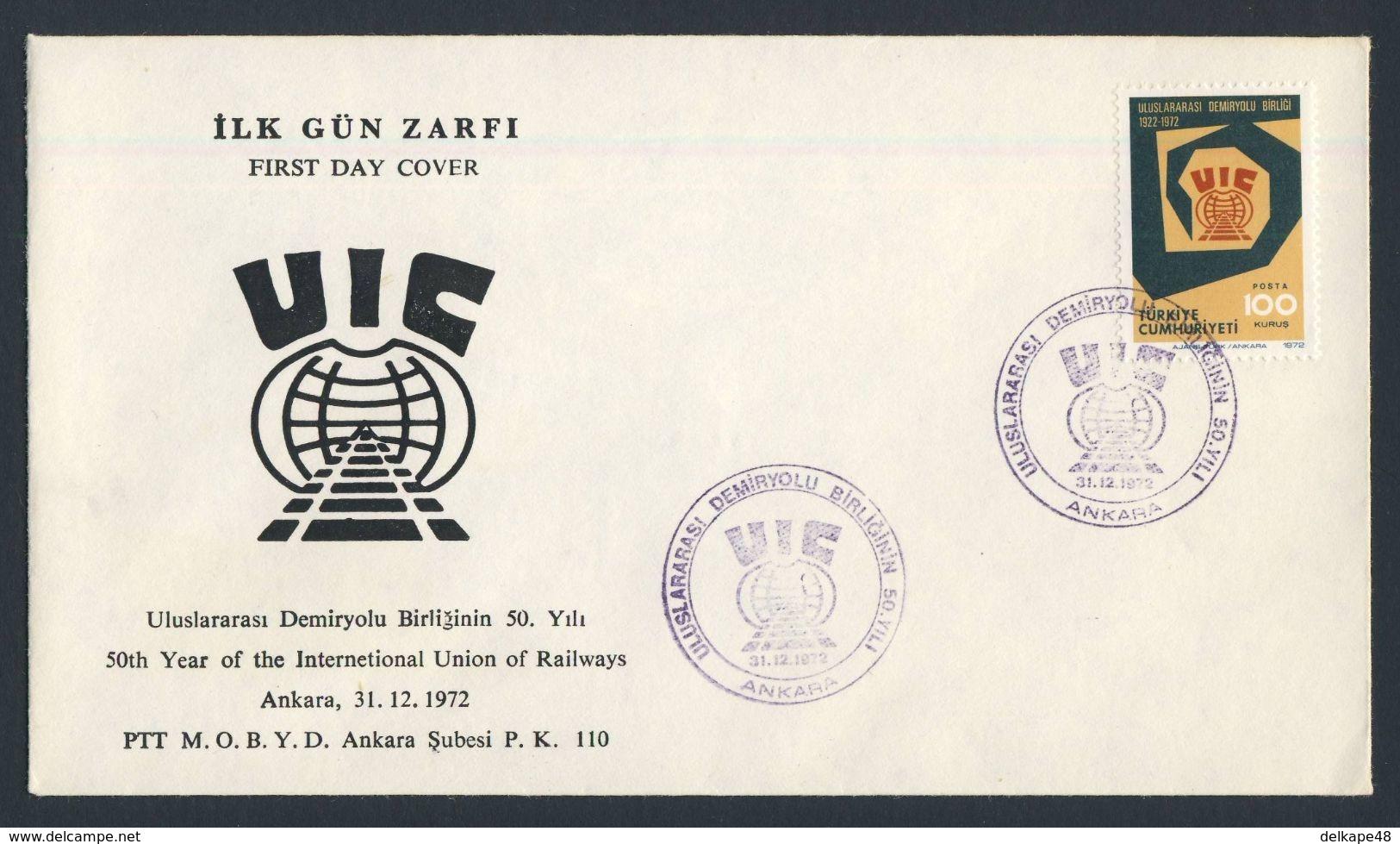 Turkey Turquie Turkei 1972 FDC + Mi 2278 YT 2048 Sc 1920 - 50th Ann. Int. Railway Union / 50 Jahre Int. Eisenbahnverband - Treinen