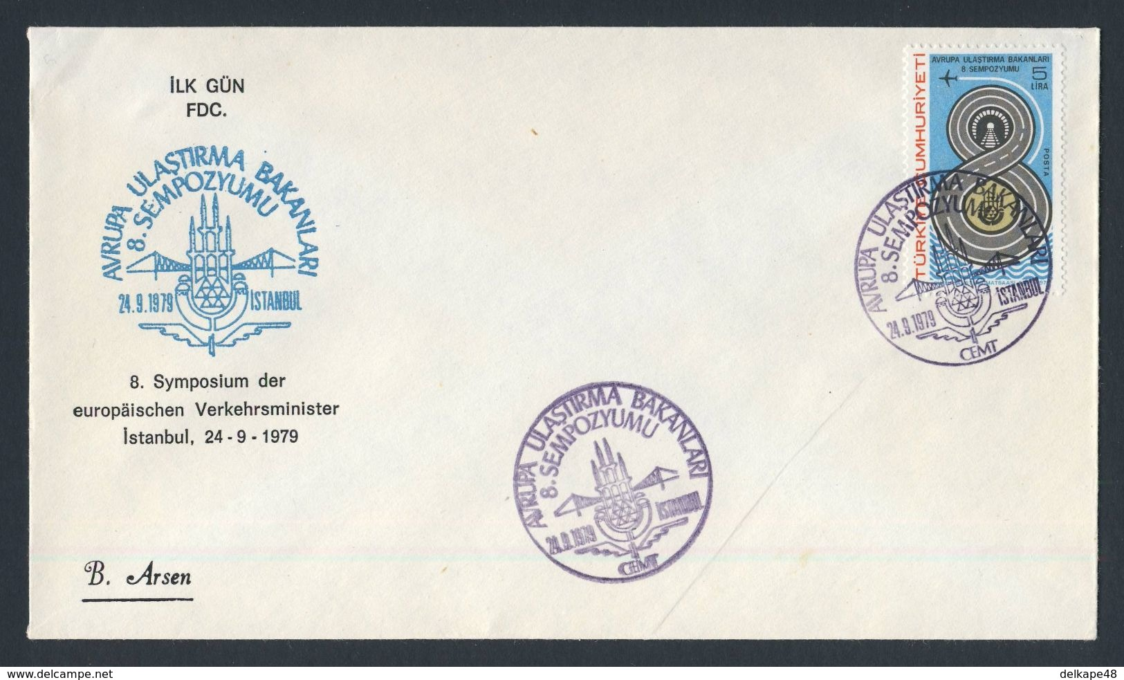 Turkey Turquie Turkei 1979 FDC +Mi 2492 YT 2261 Sc 2119 ** 8th Eur. Communications Ministers Symposium/ Verkehrsminister - Transportmiddelen