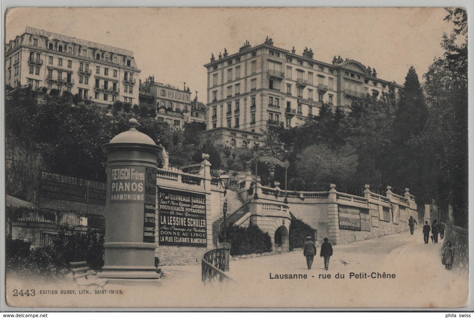 Lausanne - Rue Du Petit-Chene - Litfassäule - Animee - Photo: Burgy - VD Vaud