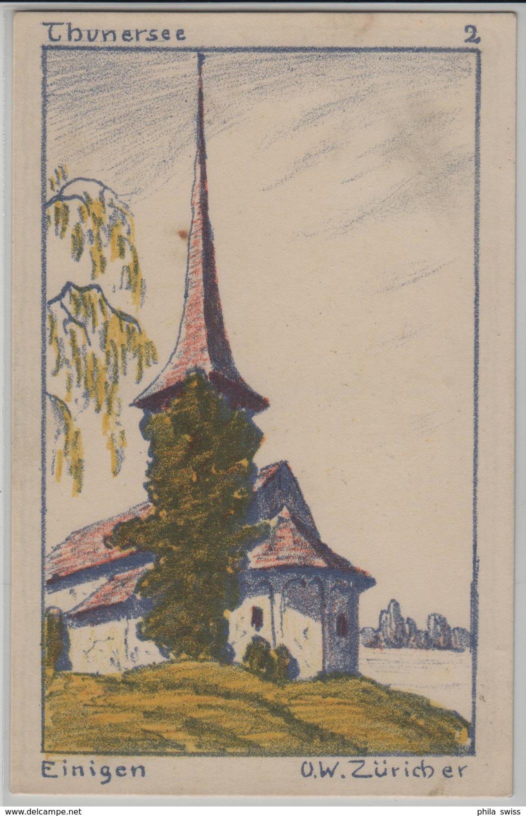 Einigen Thunersee Kirche - Künstlerkarte U.W. Züricher - BE Berne