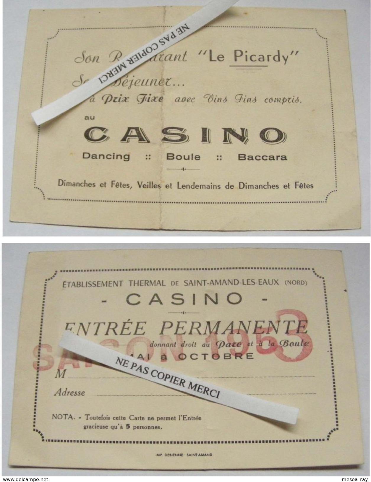 Casino De Saint Amand Les Eaux 59 Nord Carte Abonnement Entrée Permanente Saison 1953 Restaurant Le Picardy - Saint Amand Les Eaux