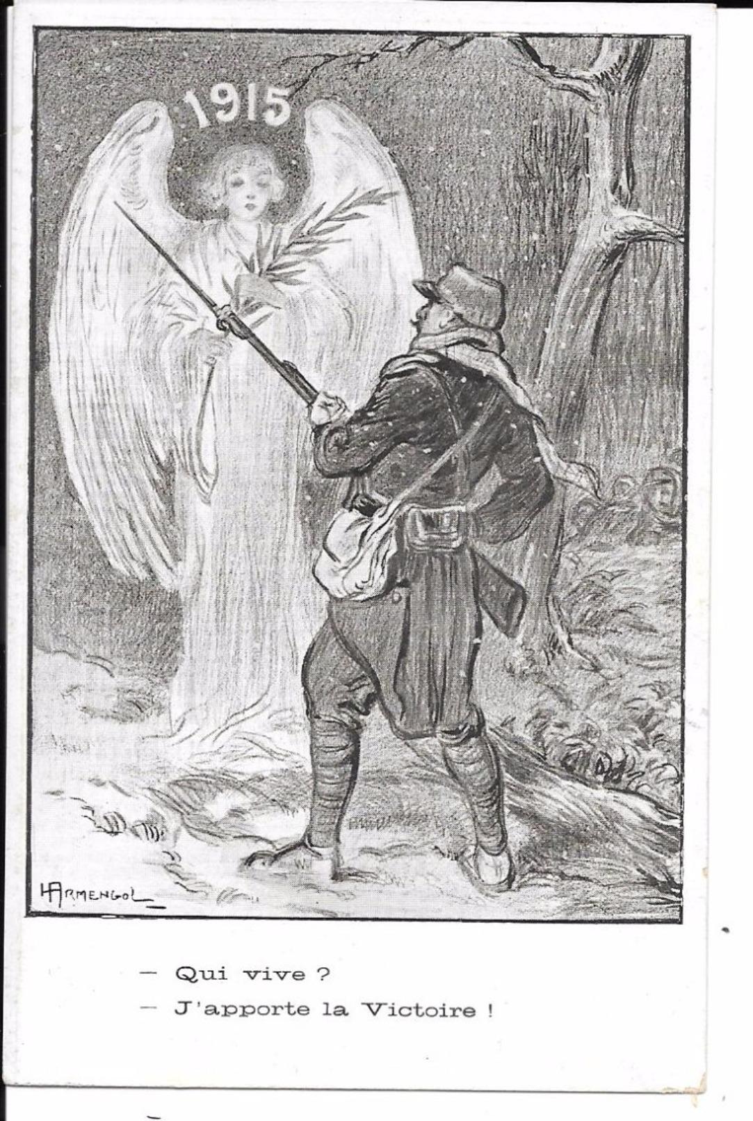 """MILITARIA (14/18) ANGE TRES BELLE CPA 1915 """"QUI VIVE ? / J'APPORTE LA VICTOIRE"""" (PAPIER GLACé) - Oorlog 1914-18"""