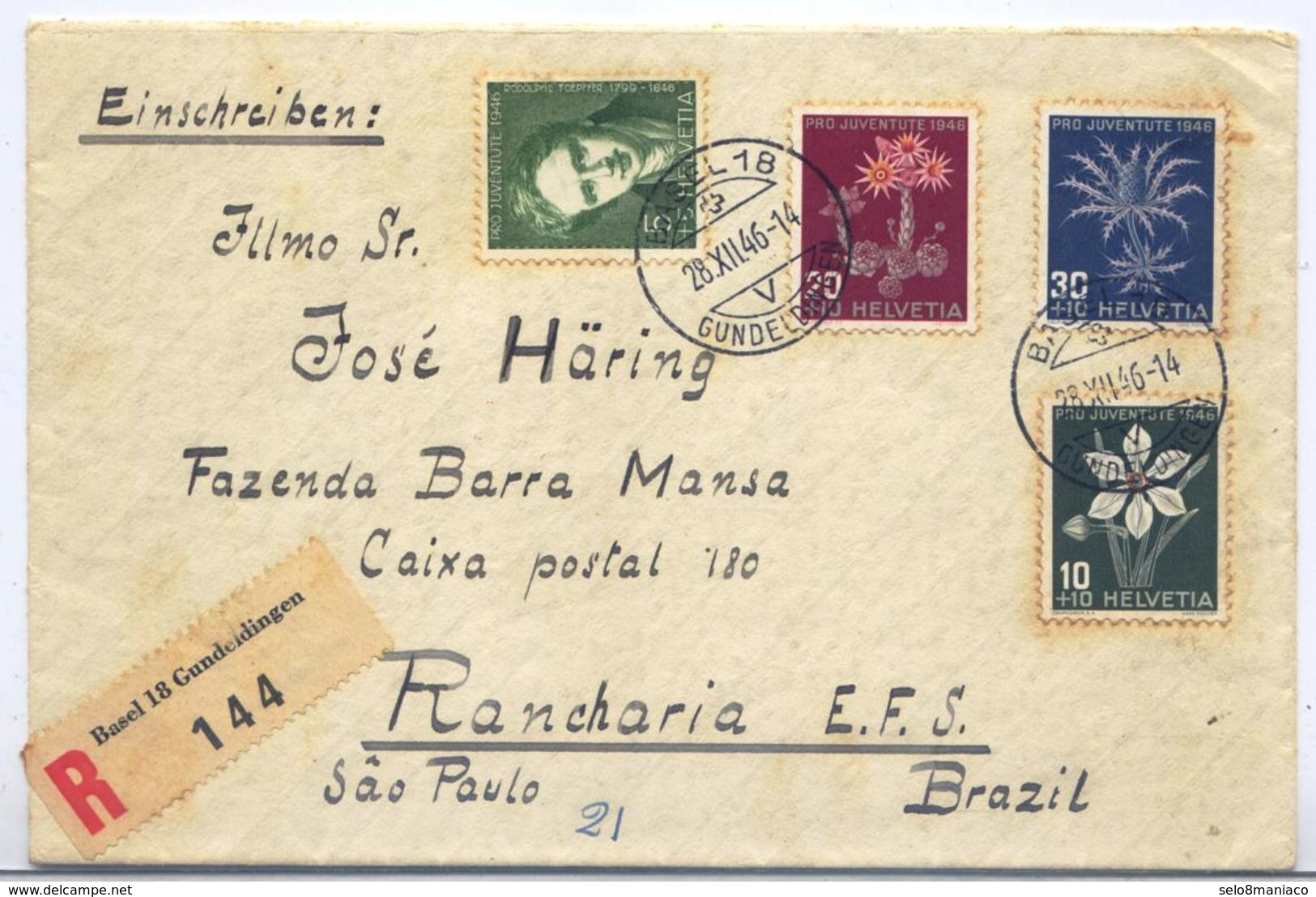 C1485-Switzerland-Registered Cover From Basel To Rancharia, SP, Brazil-1946 - Pro Juventute