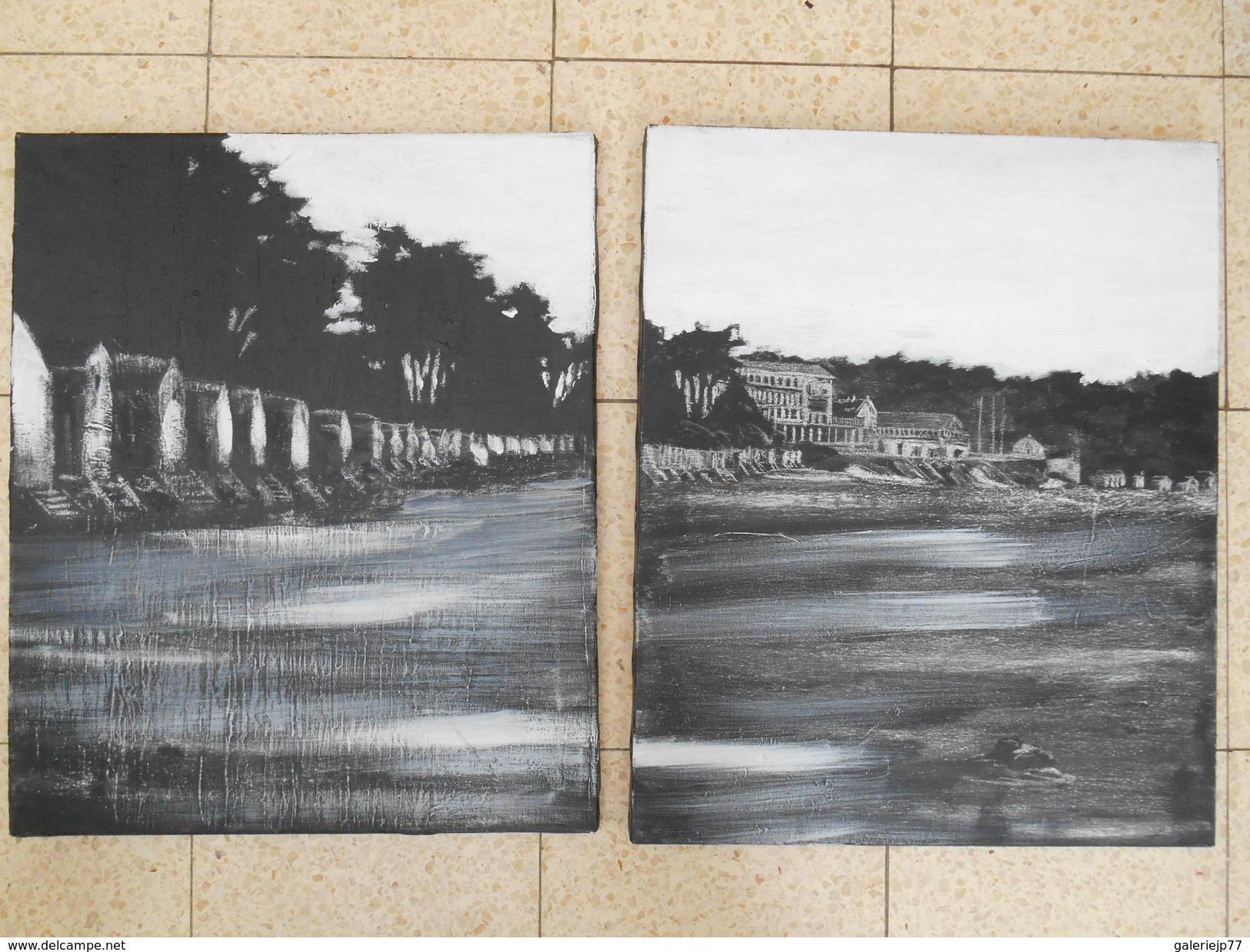 Diptyque Paysage Acrylique Sur Toile 50cm X 61cm Chaque Exemplaire - Acryliques