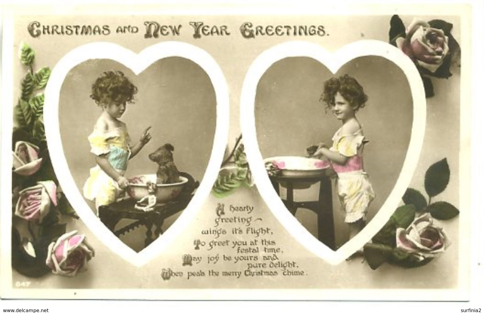 GREETINGS - CHRISTMAS AND NEW YEAR - SMALL GIRL WITH TEDDY - Christmas