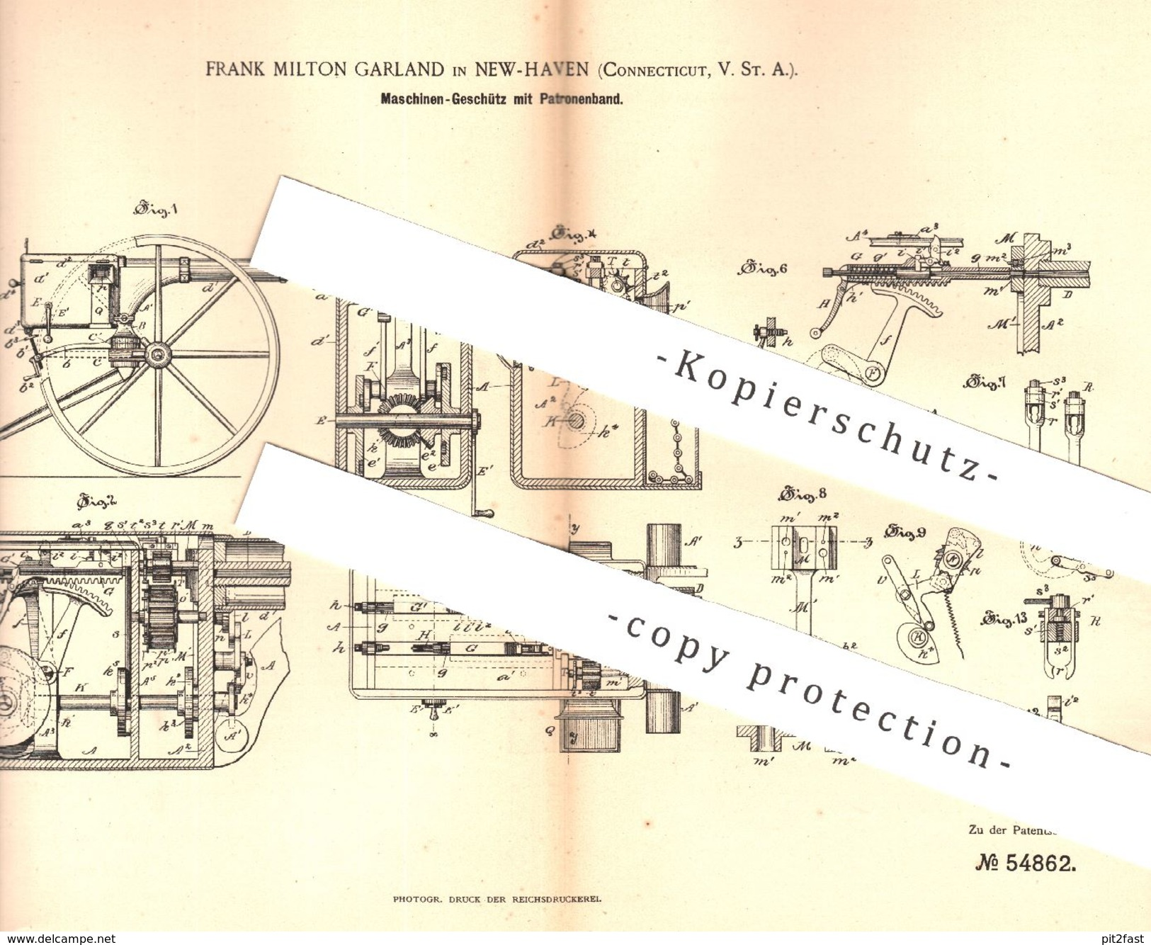 Original Patent - Frank Milton Garland , New Haven , Connecticut , USA , 1890 , Maschinen - Geschütz Mit Patronenband !! - Historical Documents