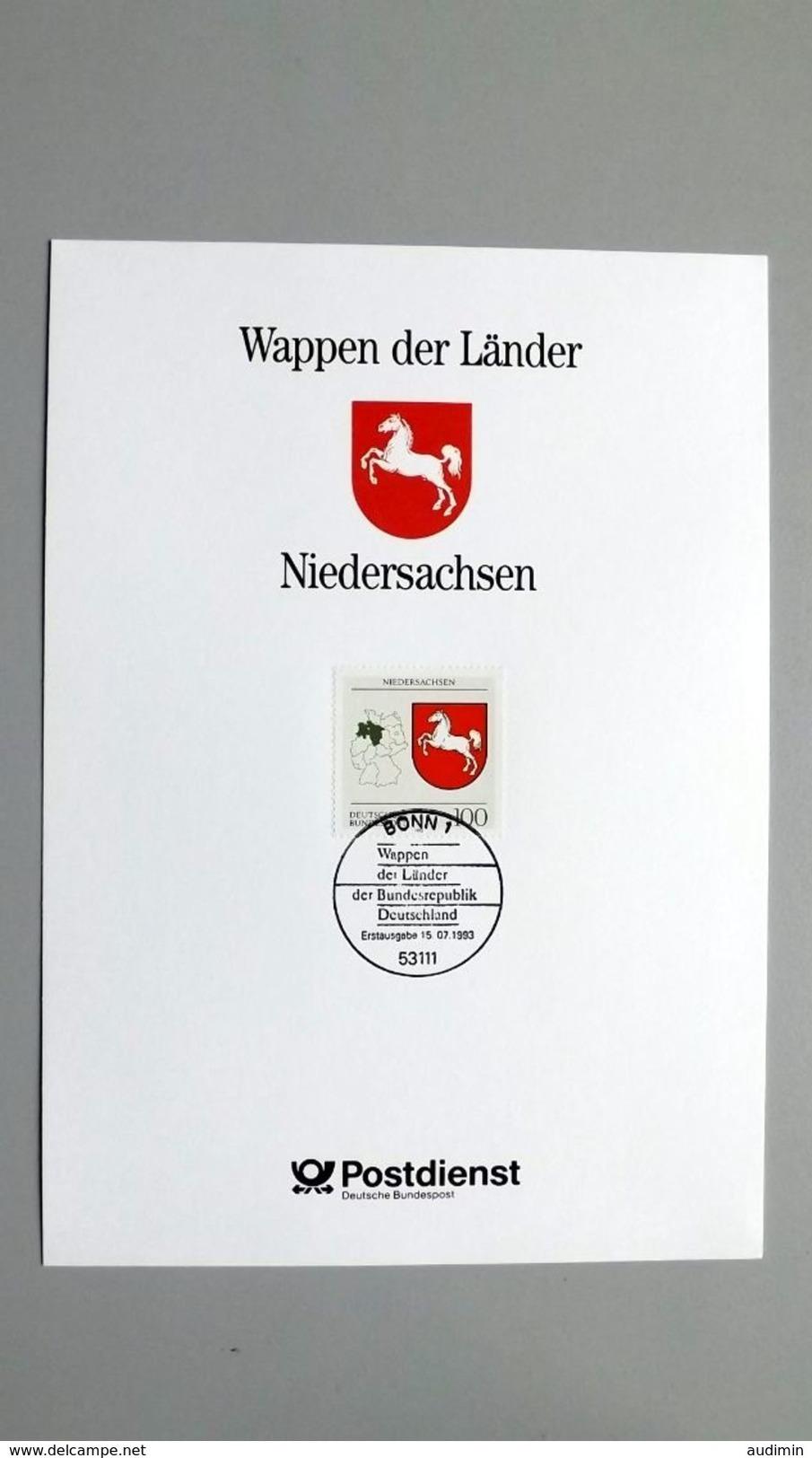 """Deutschland Erinnerungsblatt """"Wappen Der Länder - Niedersachsen"""" Mit Bund 1662 ESST Bonn - Covers & Documents"""