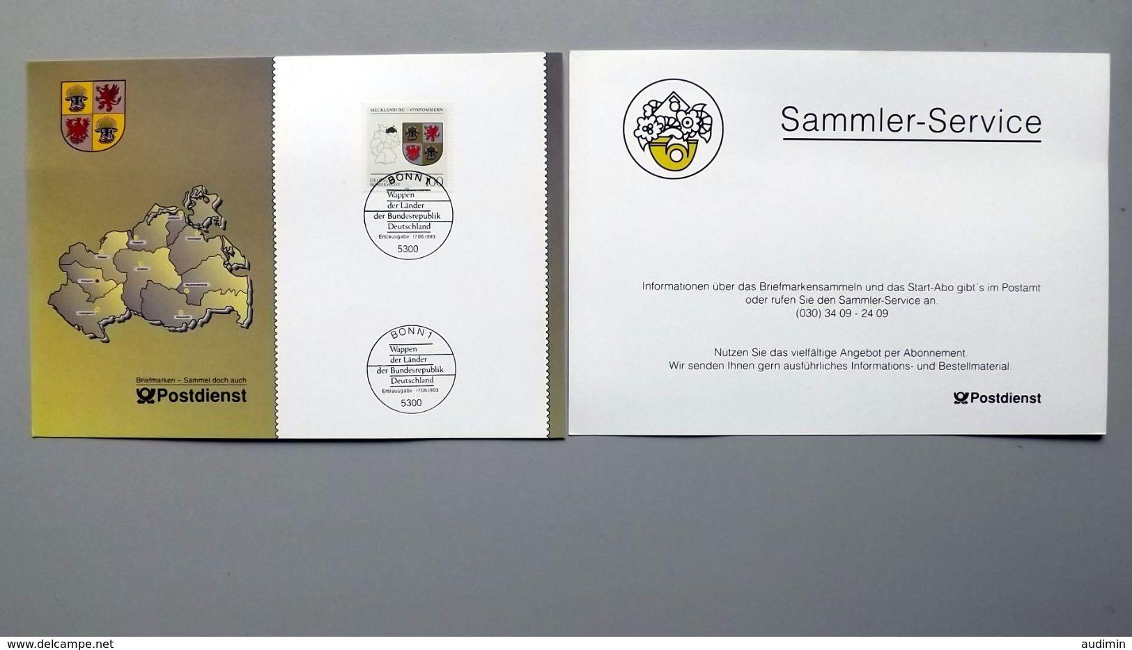 """Deutschland Erinnerungsblatt """"Wappen Der Länder - Mecklenburg-Vorpommern"""" Mit Bund 1664 ESST Bonn - Covers & Documents"""