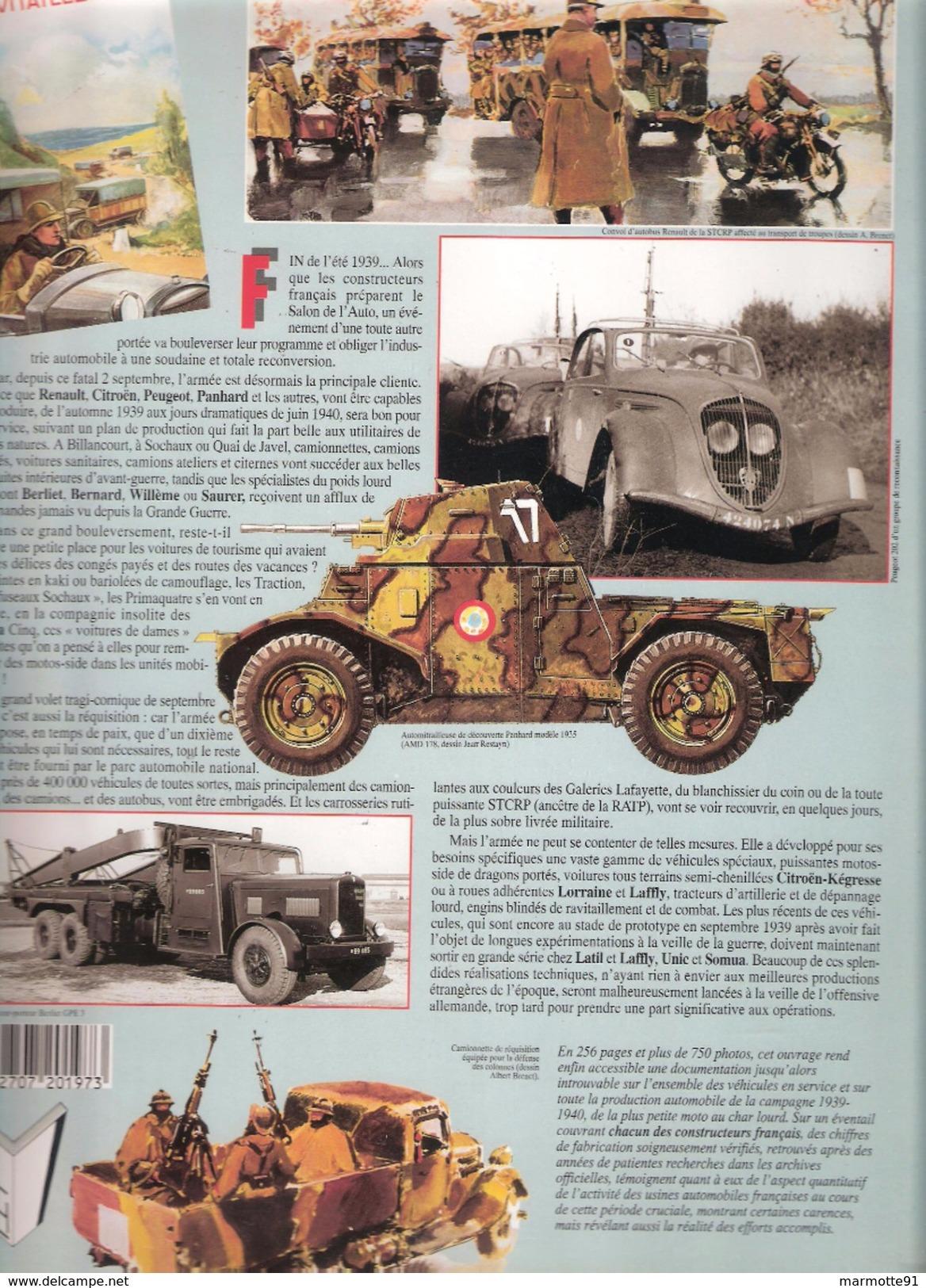 AUTOMOBILE SOUS UNIFORME ARMEE FRANCAISE 1939 1940 MOTO SIDE CAR VOITURE VEHICULES SPECIAUX COMBAT TOUT TERRAIN - Véhicules