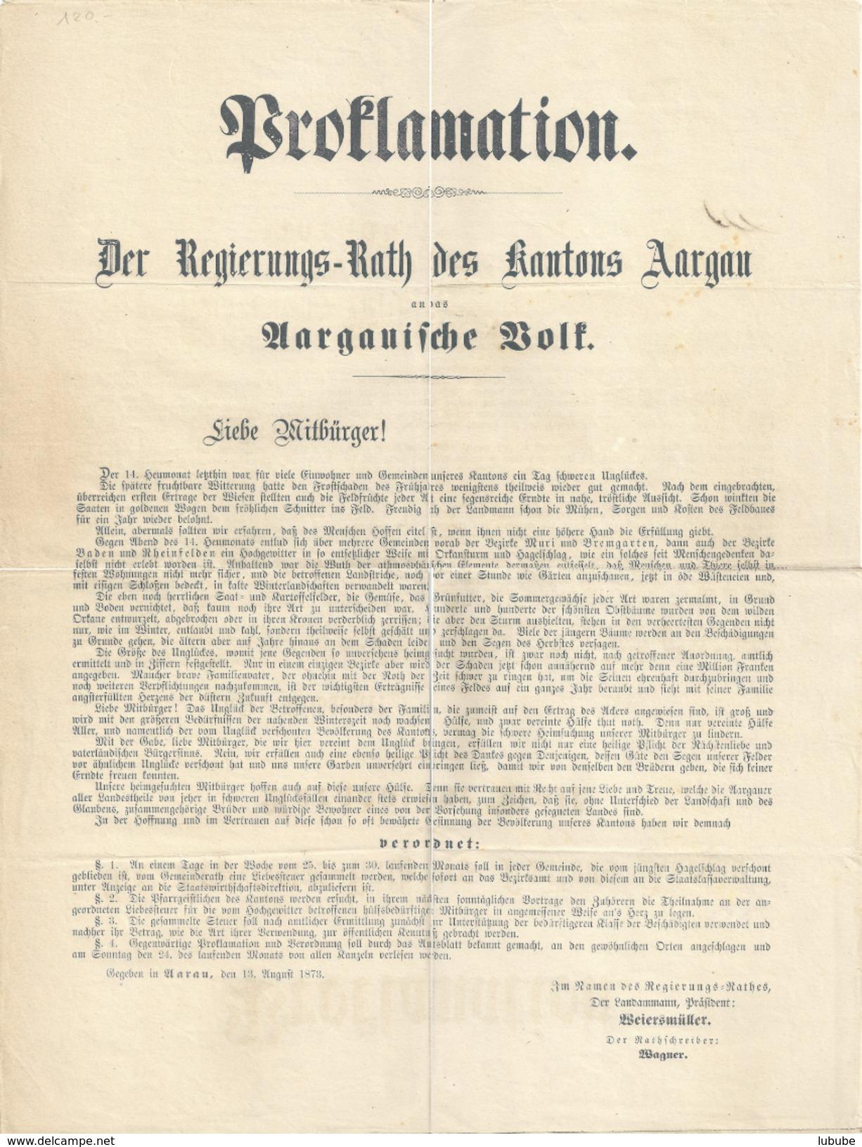 Proklamation Des Regierungs Rathes Des Kantons Aargau  (Schwere Unwetterschäden)         1873 - Announcements