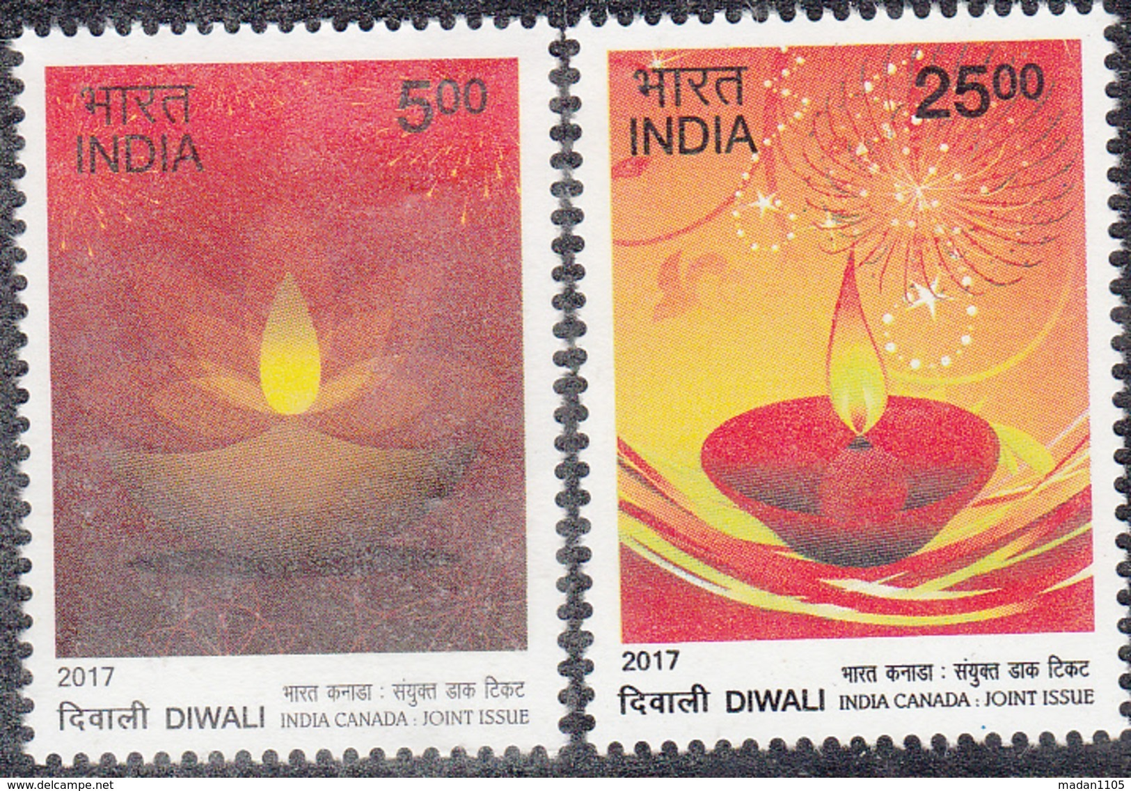 INDIA 2017 INDIA CANADA Joint Issue,  Festival Of DIWALI,  Set  2v Complete,, MNH(**). - India