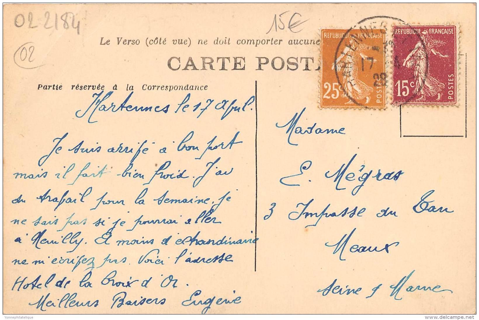 02 - AISNE / 022184 - Hartennes Et Taux - L' Hôtel - Autres Communes