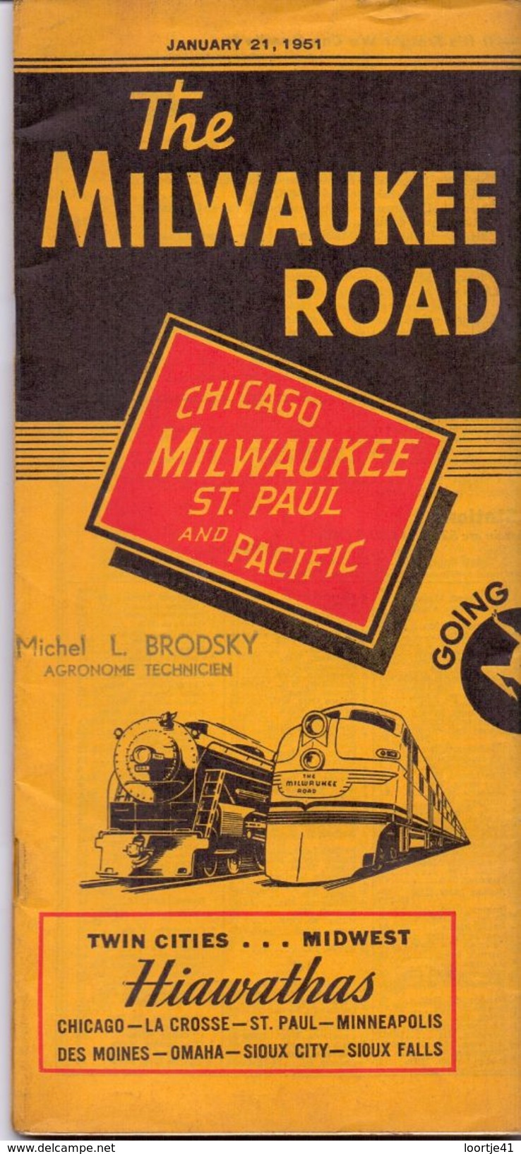 Dienstregeling Horaire Chemins De Fer - Schedules Railways The Milwaukee Road - Chicago - St Paul - Minneapolis 1951 - World