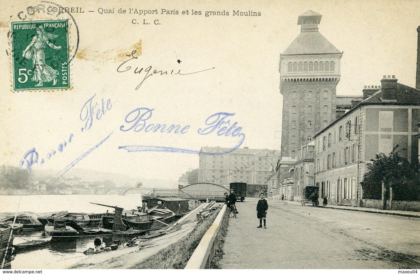 CORBEIL ESSONNES - Quai De L'Apport Paris Et Les Grands Moulins - Corbeil Essonnes