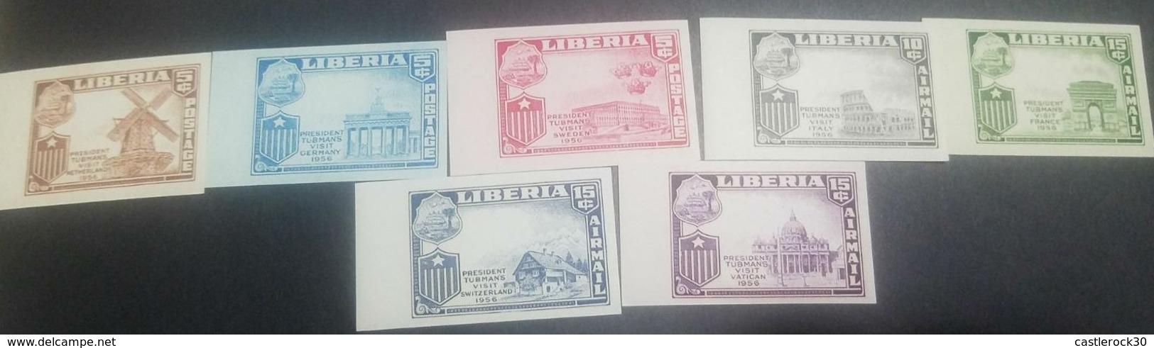 O) 1958 LIBERIA, PROOF -ERROR OF PRINT, WINDMILL AND DUTCH FLAG, GERMAN FLAG AND BRANDENBURG GATE-PRESIDENT WILLIAM VACA - Liberia