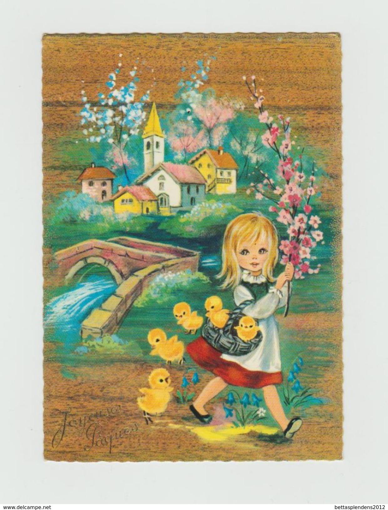 Joyeuses Pâques - Jeune Fille Et Poussins - Easter