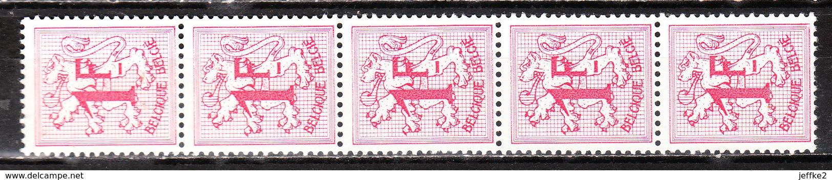R8**  Chiffre Sur Lion Héraldique - Bande De 5 Avec Numéro - Bonne Valeur - MNH** - COB 130 - RRR!!!! - Rouleaux