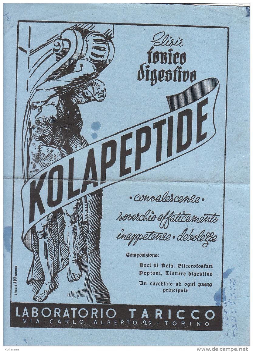C2176 - CARTA ASSORBENTE - PUBBLICITA' ELISIR TONICO DIGESTIVO KOLAPEPTIDE LABORATORIO TARICCO - TORINO - K