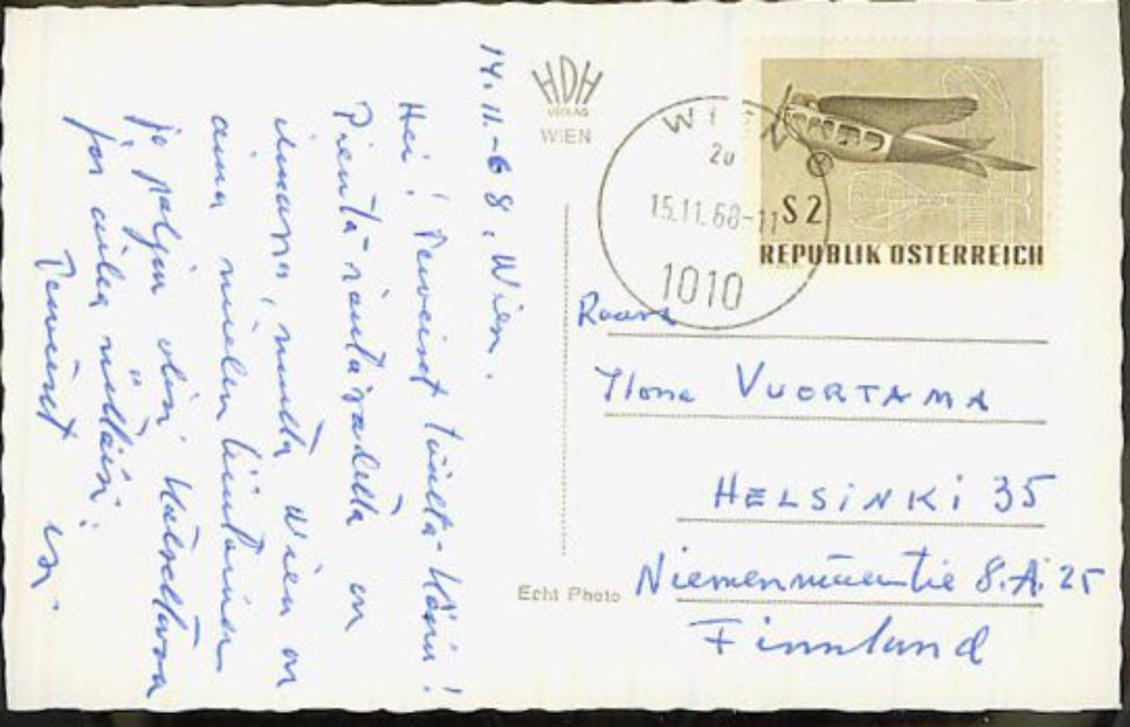 Austria/Österreich 1968 Pc To Finland - 1945-.... 2nd Republic