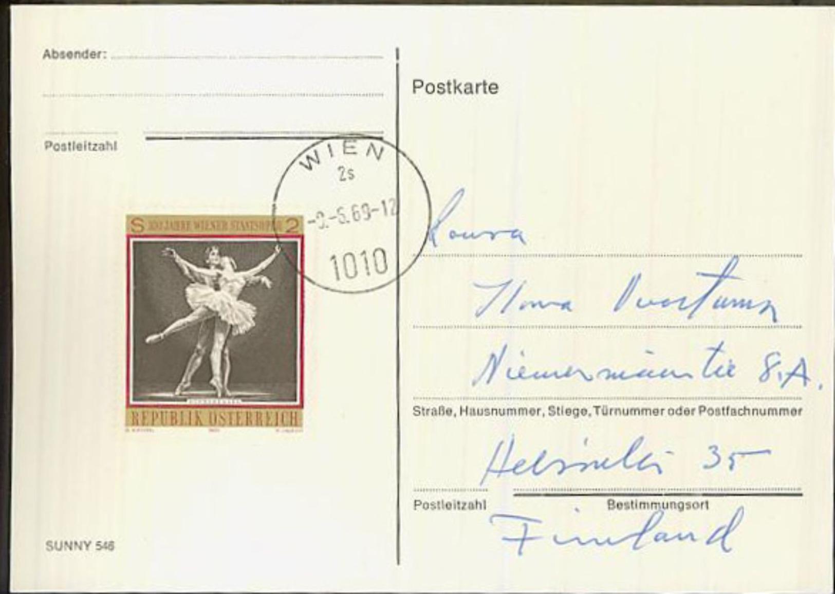Austria/Österreich 1969 Pc To Finland - 1961-70 Covers