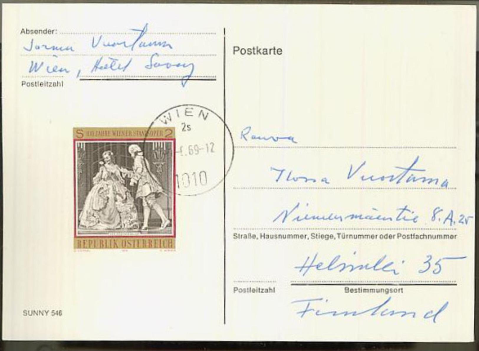 Austria/Österreich 1969 Pc To Finland - 1945-.... 2nd Republic