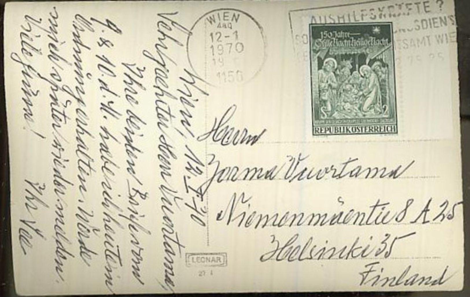 Austria/Österreich 1970 Pc To Finland - 1945-.... 2nd Republic